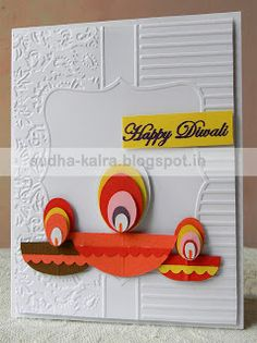 """""""May this Diwali, Come up with Beautiful Beginning, Fresh Hope, Bright Days and New Dreams. Wishing You a Happy Diwali"""" Diy Diwali Cards, Handmade Diwali Greeting Cards, Diwali Card Making, Diwali Diy, Diwali Craft, Diwali Gifts, Handmade Greetings, Diy Cards, Handmade Cards"""