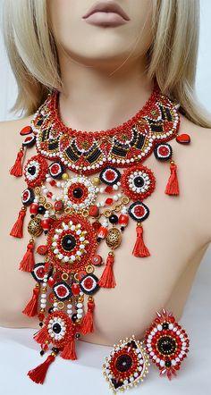 Bead Jewellery, Boho Jewelry, Wedding Jewelry, Beaded Jewelry, Beaded Necklace, Unique Jewelry, Necklaces, Bead Embroidery Jewelry, Beaded Embroidery
