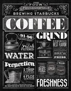 Vintage-style typography mural for Starbucks