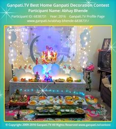 Abhay Bhende Page on Ganpati.TV where all Ganpati festival decoration pictures and videos are shared. Ganpati Decoration Theme, Gauri Decoration, Mandir Decoration, Ganapati Decoration, Desi Wedding Decor, Wedding Stage Decorations, Diwali Decorations, Festival Decorations, Light Decorations