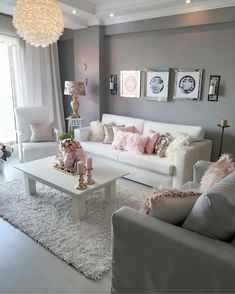 39 Beautiful Romantic Living Room Decor Ideas - Living-room is the most important and most spacious room at home, it welcomes guests, it reflects our way of life, so it should be exclusively maintai. Romantic Living Room, Glam Living Room, Living Room Decor Cozy, Bedroom Decor, Living Room Goals, Bedroom Ideas, Living Room Decorating Ideas, Gray Bedroom, Blush Pink Living Room