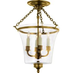 Visual Comfort E.F. Chapman Sussex Semi-Flush Bell Jar Lantern in Antique-Burnished Brass CHC2209AB
