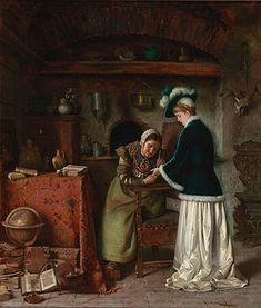 """""""The Fortune Teller"""" by Achille Glistenti. 1883, oil on canvas. In the collection of The Figge Art Museum, Davenport, IA."""