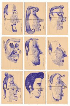 9 heads on Behance