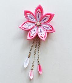 Kanzashi flower hair clip  Wedding hair by MeanwhileCraft on Etsy, $17.00