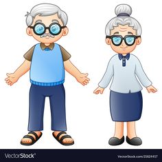 Illustration of Vector illustration of Cartoon elderly couple vector art, clipart and stock vectors. Cartoon Cartoon, Old Man Cartoon, Cartoon Images, Elderly Couples, Old Couples, Elderly Man, Page Borders Design, Family Drawing, Teacher Stickers