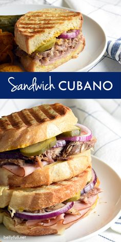 This Cubano Sandwich This Cubano Sandwich inspired by the movie CHEF combines slow roasted pork ham swiss cheese onion pickles and mustard. Its incredibly simple and delicious! Delicious Sandwiches, Wrap Sandwiches, Tapas, Movie Chef, Cubano Sandwich, Ham Wraps, Homemade Ham, Pork Ham, Cuban Recipes