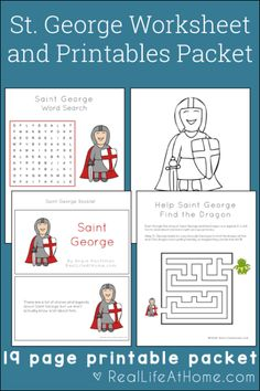 19-page Saint George Printables and Worksheet Packet