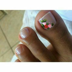 Toe Nail Art Designs with Flowers Pedicure Designs, Toe Nail Designs, Nail Polish Designs, Fancy Nails, Pretty Nails, Pedicure Nails, French Manicure Toes, French Pedicure, Colorful Nail Designs