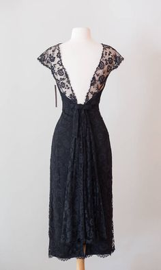 Vintage 1950s Black Lace Cocktail Dress w/ Daringly Low Back