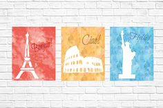Eiffel Tower Coliseum and Statue of Liberty by GrapevineDesignShop Bedroom Prints, Nursery Prints, Girls Bedroom, Bedrooms, Liberty Print, Digital Wall, Kids Prints, Nursery Ideas, Statue Of Liberty