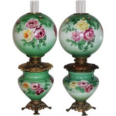 RARE PAIR of HAND PAINTED Gone with the Wind Oil Parlor Lamps ~Masterpiece Breathtaking HAND PAINTED ROSES ~ Outstanding Fancy Ornate Font Spill Ring and Base~ Original Condition ~Original Parts ~ Collector Pieces