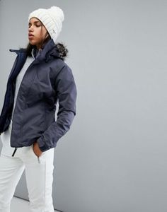 Details about O'Neill Women's Ski Jacket, size L, grey, cream, and navy, very gently used