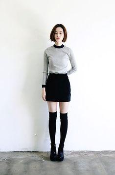 Skirt And Knee High Socks 2017 Street Style
