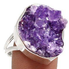 Amethyst Druzy 925 Sterling Silver Ring Jewelry s.10 RR16742 | eBay