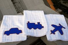 Dress up those burp cloths with these Planes, Trains, and Automobiles Burp Cloths design. Simply cut out these classic images as applique and attach them!