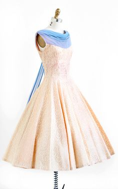vintage 1950 dreamy dreams pink + blue lace prom dress | http://www.rococovintage.com