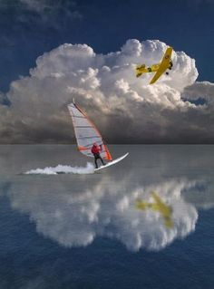From Clear Waters to Sky, surfer, plane, water, reflection, blue sky, mirror, stunning, photograph, photo