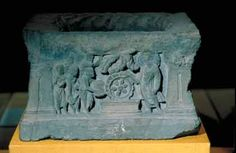 Carved Base with Buddhist narrative scenes: The Buddha turning the Wheel of the Law, Gandhara, India, 2nd-3rd C., Indian Sculpture-The Asian Arts Museum of Sanfrancisco, California, ACSAA