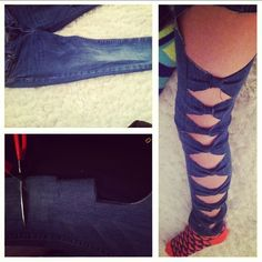 easy no-sew recycled bow jeans! very quick and easy to make! not so high up the girls could do the bottoms Sewing Jeans, Sewing Clothes, Bow Jeans, Bow Shorts, Diy Clothes Accessories, Cut Up Shirts, Diy Clothes Refashion, Altering Clothes, Clothes Crafts
