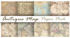 Antique OLD WORLD MAPS Digital Paper Pack 8 Maps by DigitalAlice