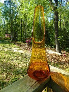 VTG 1960s MID Century Modern VIKING AMBER ART GLASS STRETCH VASE Retro Groovy