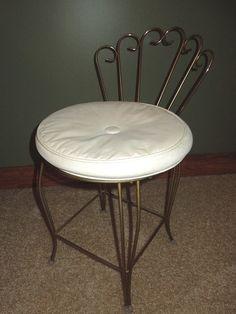 Vintage Hollywood Regency Metal Vanity Stool Makeup Chair White Vinyl Cushion