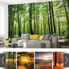moderne-wände-gestalten-mit-fototapeten-schlafzimmer-bamus-wald ...