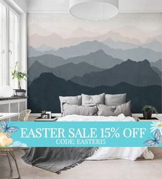Easter Sale  Mountain Mural Wallpaper Grayish Navy Pale