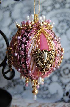 Eudora Handcrafted Beaded Victorian Christmas Ornament
