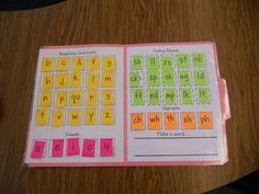 Making Words game using file folder and post it's.