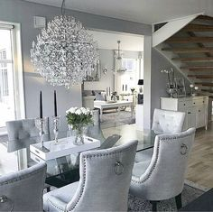 Luxury 24 Modern Table Dining Room Design In 2019 - Home Decor Interior Dining Room Table Decor, Elegant Dining Room, Luxury Dining Room, Dining Room Design, Dining Room Furniture, Living Room Decor, Glamour Living Room, Furniture Stores, Dining Rooms