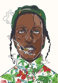 Rudcef drawing #Goldie #A$AP #Print #Poster