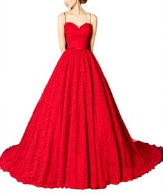 TBB Women's Spaghetti Strap Red Long Lace Prom Dresses Ball Gowns Formal Dresses (12). Lace, Spaghetti Strap, Sweetheart Neck, Sleeveless, Backless, Built in Bra, Full Lined, Zipper, Buttons, Court Train. This lace dress was made of soft lace, full lined. The spaghetti strap and backless design makes the dress sexy. The same color buttons on back and skirt is the biggest spot. Choose this gown to be a eye-catching lady. Customized service (Need to pay extra 25 dollars) and colors are also...