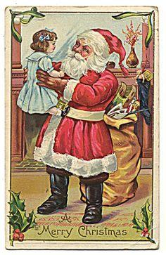 Santa Claus Holding Up Little Girl ?Doll? Toy Bag, Skates, Sled, Postcard 1911 | eBay