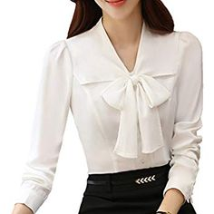 Shop the latest collection of JHVYF Womens Bow Tie Neck Blouse Long Sleeve Casual Work Office Tops Button Down Shirts from the most popular stores - all in one place. Cute Blouses, Shirt Blouses, Blouses For Women, Tie Neck Blouse, Long Blouse, Floral Skirt Outfits, Women Bow Tie, Bodysuit Shirt, Looks Chic