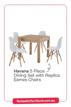 The Havana 5 Piece Dining Set with Replica Eames Chairs will make small spaces feel big. This space-saving dining table is great for apartment living. Space Saving Dining Table, Dining Room, Eames Dining Chair, 5 Piece Dining Set, Australia Living, Furniture Assembly, Fabric Sofa, Apartment Living, Place Card Holders