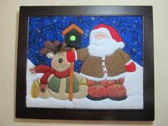 Santa y reno Christmas Wall Art, Christmas Projects, Christmas Time, Holiday, Diy Weihnachten, Applique Patterns, Mug Rugs, Square Quilt, Christmas Inspiration
