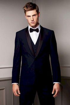 New Arrival blue tuxedos for men wedding suits men suits groom wedding suits groomsmen suits (Jacket+Pants+Vest+Bow) Navy Blue Groomsmen, Groomsmen Suits, Groom Attire, Mens Suits, Groom Wear, Groom Dress, Prom Tuxedo, Tuxedo Wedding, Wedding Men