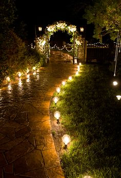Garden Wedding Ideas for Beautiful Outdoor Wedding Decor Garden Wedding Ideas Beautiful Decorations for a Fun. Talking about outdoor weddings, a garden is without question the best option, it allows for endless and limitless ideas. Outdoor Garden Lighting, Landscape Lighting, Pathway Lighting, Walkway Lights, Garden Lighting Wedding, Lights In Trees, String Lights, Night Wedding Lighting, Backyard Party Lighting