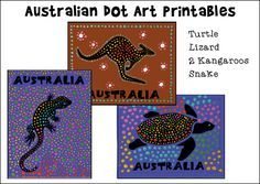 Dot Art Printables for Australia Day or Australian Homeschool Unit Study from where learning is fun!Australian Dot Art Printables for Australia Day or Australian Homeschool Unit Study from where learning is fun! Aboriginal Art For Kids, Aboriginal Dot Painting, Australia Crafts, Australia For Kids, Australia Day Craft Preschool, Australia Weather, Brisbane Australia, Australian Art For Kids, World Thinking Day