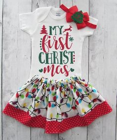 bd2e0b4cb94f My First Christmas Outfit for Baby Girl in red and green glitter - 1st xmas  outfit