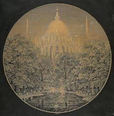 Karl Friedrich Schinkel: Der Abend (1811) Ansicht einer großen gotischen Kuppel hinter Bäumen Zeichnung: Feder, Tusche, aquarelliert / Papier