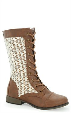 Mid Height Combat Boot with Lace Up Front and Crochet Sides