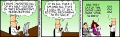 Prezi uses Adobe's Flash technology to create animated presentations with a few clicks and drags. Instead of creating a series of separate slides, you put all your content—text, graphics, captions—on a single canvas. #dilbert #presentation #fun