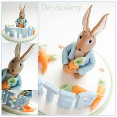 Cake topper for peter rabbit themed baby shower Peter Rabbit Cake, Peter Rabbit Birthday, Peter Rabbit Party, Baby Shower Cakes, Baby Shower Themes, Beatrix Potter Birthday Party, Beatrix Potter Cake, Bunny Cakes, Harry Birthday