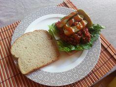 Left over meatballs, lettuce, pickles and the legendary Sriracha sauce.