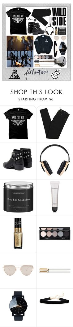 """""""Fall Out Boy #06"""" by johu734 ❤ liked on Polyvore featuring Polaroid, Yves Saint Laurent, Senso, Pryma, MAC Cosmetics, L'Oréal Paris, Witchery, Gentle Monster and bandtees"""
