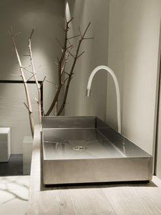 Countertop rectangular #steel #washbasin Industrial Line Collection by Moab 80 | #design Gabriella Ciaschi, Studio Moab