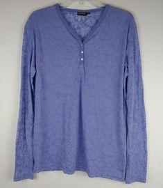 e17a6f71612 Kuhl Womens Long Sleeve Henley Shirt XL Purple Lilac Floral Flowers Sheer  Soft #Kuhl #
